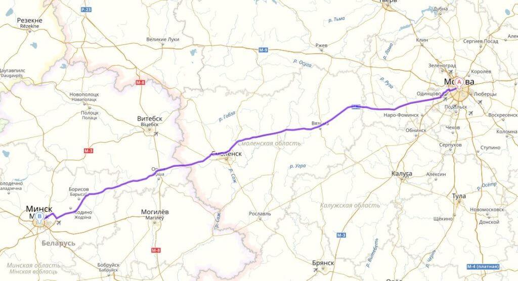 Карта маршрута из Москвы в Минск