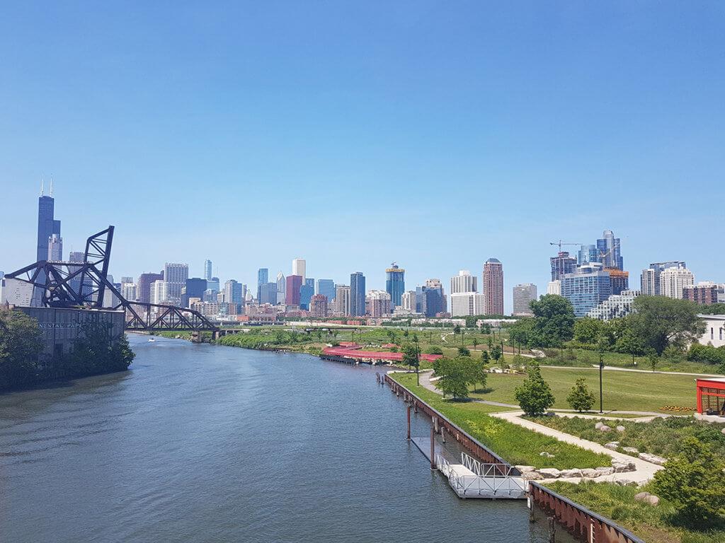 Вид на центр Чикаго